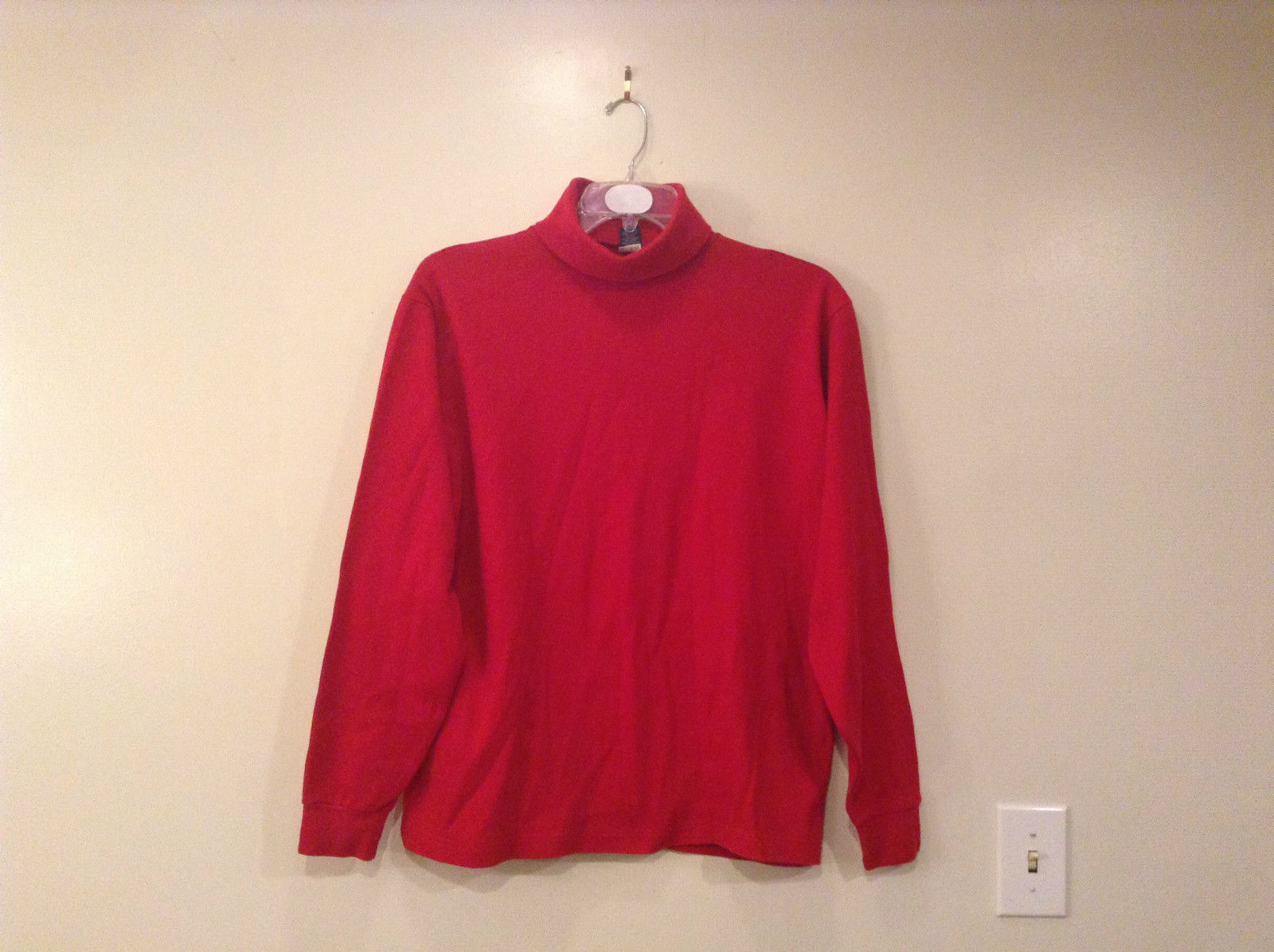 Red Lands End Mens Tall Long Sleeve Turtleneck 100  Percent Cotton Size Large
