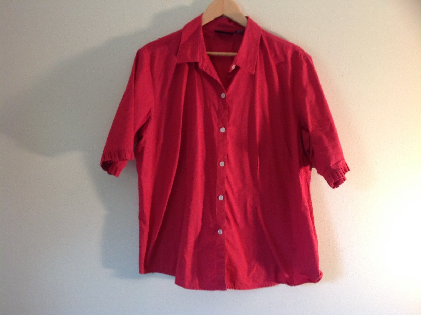 Red Short Sleeve Button Up 100% Cotton Shirt Style and Company Size 16W