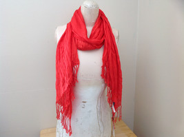 Red Scrunched Style Tasseled Scarf LOOK 65 by  24 Inches Width silk cotton blend