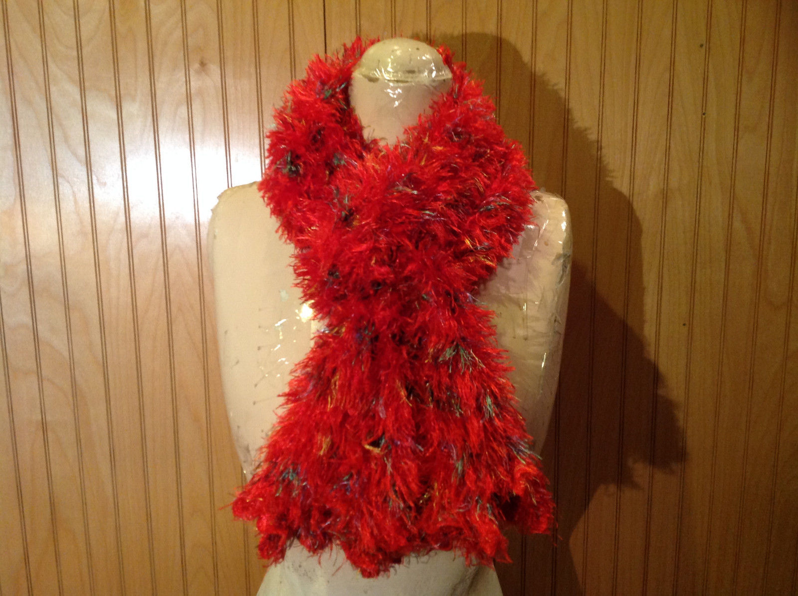 Red Rainbow Color Specks Fuzzy Circle Scarf Can Be Worn Multiple Ways NO TAGS