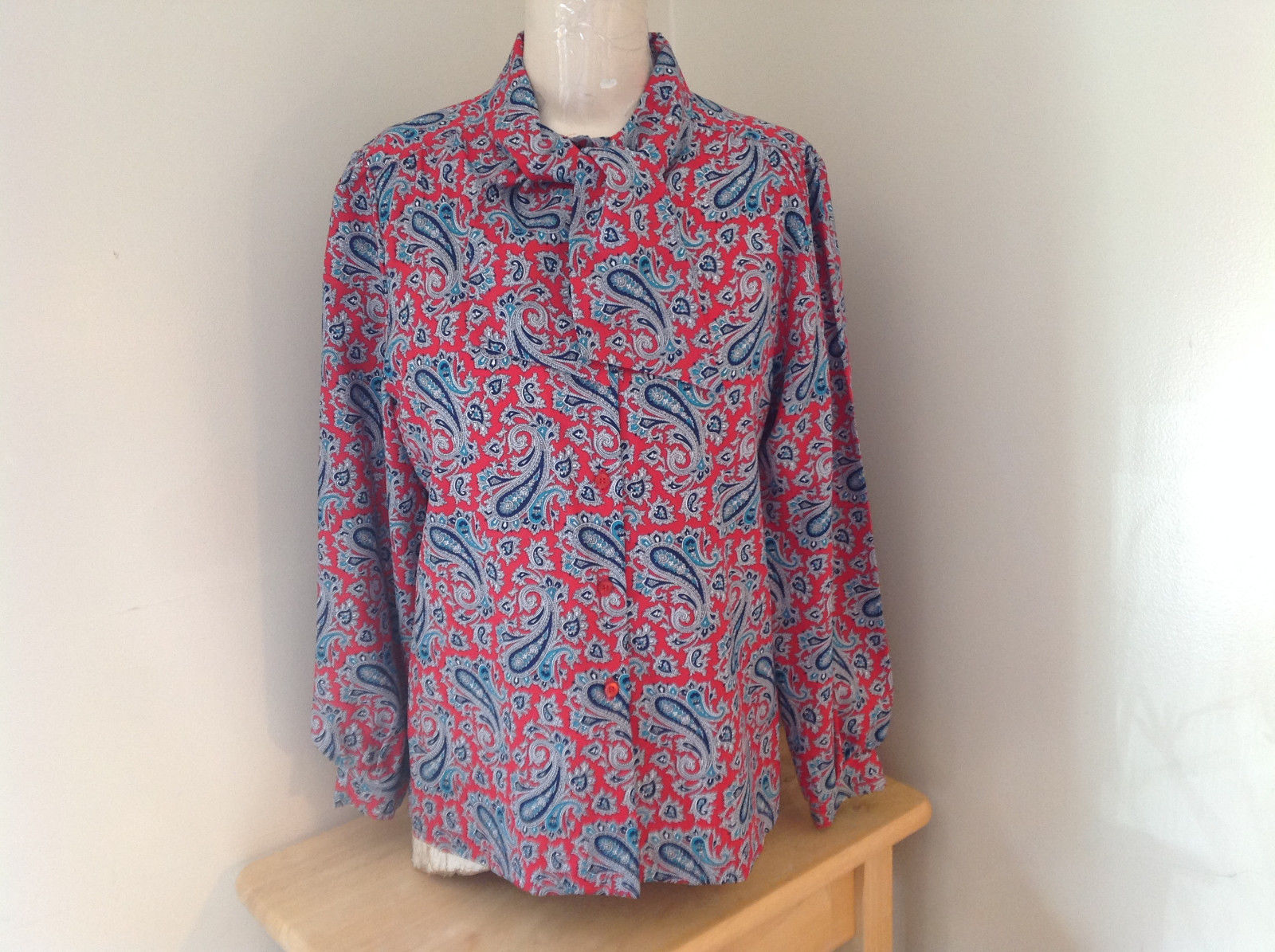 Red Navy Paisley Button up Tie at Neck Long Sleeve Shirt Alfred Dunner Size 12