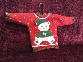 Red Poseable Ugly Sweater Ornament White Bear with Green Clothes Bell on Hat image 1