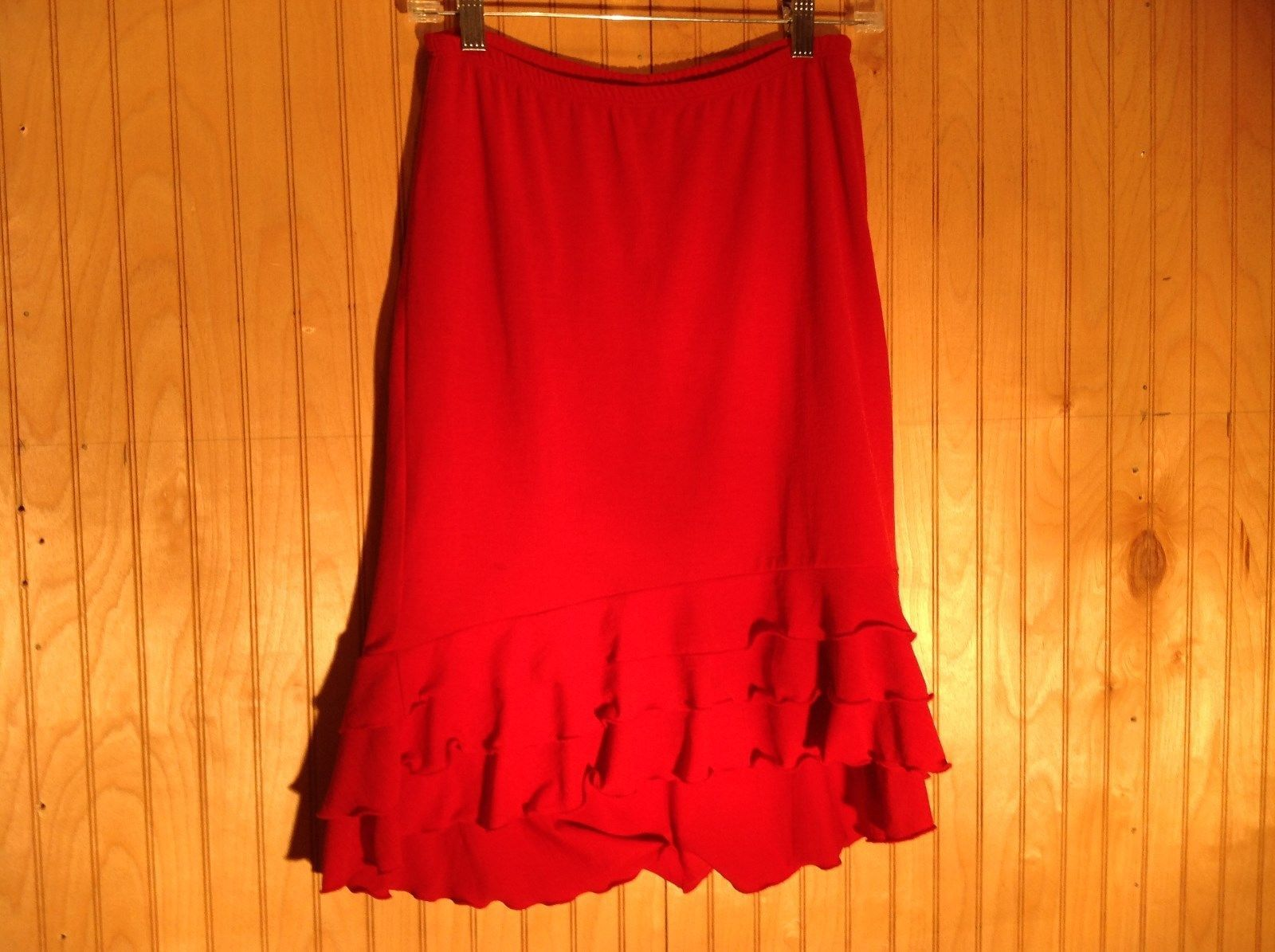 Red Skirt with Elastic Waist Ruffles at Bottom by Wet Seal Measurements Below