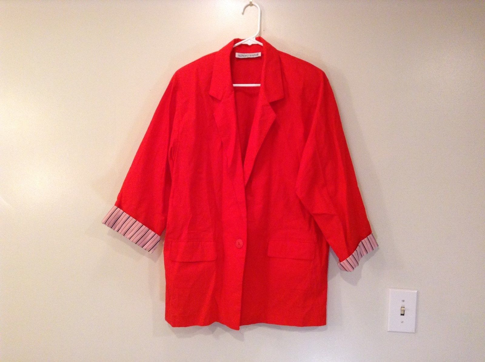 Red Richard Kristall Lightweight Blazer Jacket Contrast Color Cuffs No Tags