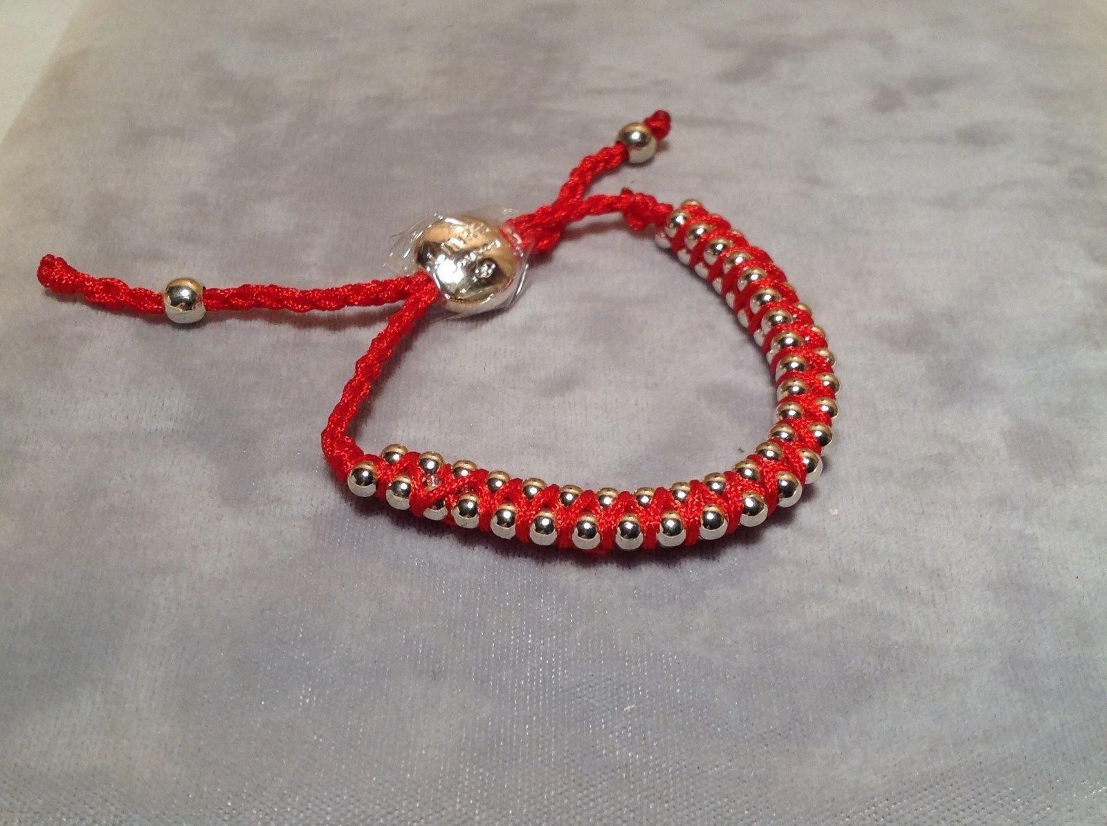 Red Small Tied String Bracelet Sliding Bead for Adjustment
