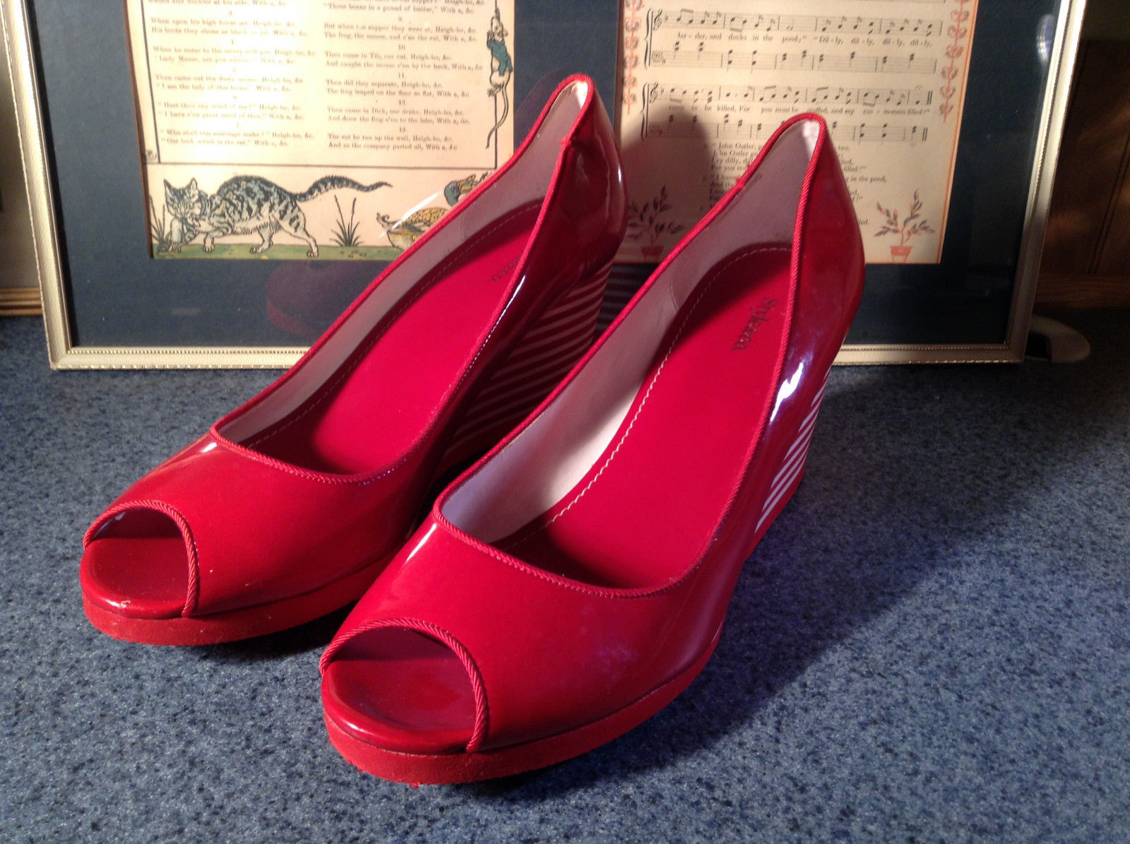 Red Style and Company Wedge Heel Shoes Size 8M Great Condition See Pictures