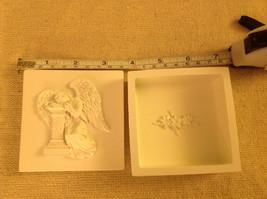 Angel trinket box  with angel resting head on pillar cream colored image 3