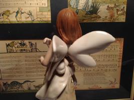 Angel Holding Basket Tall Rose Angel Porcelain Figurine Crystals on Dress image 4
