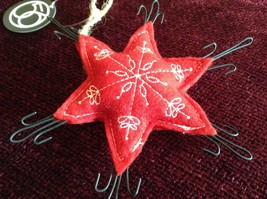Red Star Shaped Felt Ornament Metal Hooks on Points of Star Brown Rope String