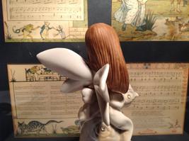 Angel Holding Basket Tall Rose Angel Porcelain Figurine Crystals on Dress image 5