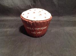 Red Wooden Cupcake Decoration Make Cupcakes Not War image 1