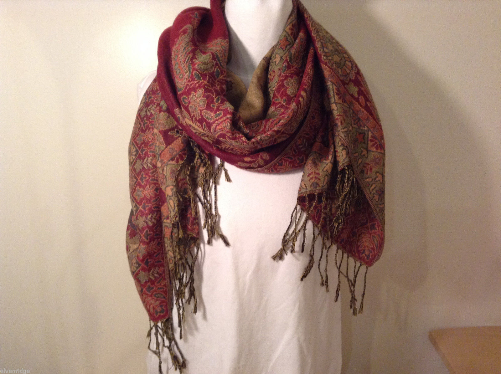 Red and Multi colored floral paisley pattern scarf or wrap