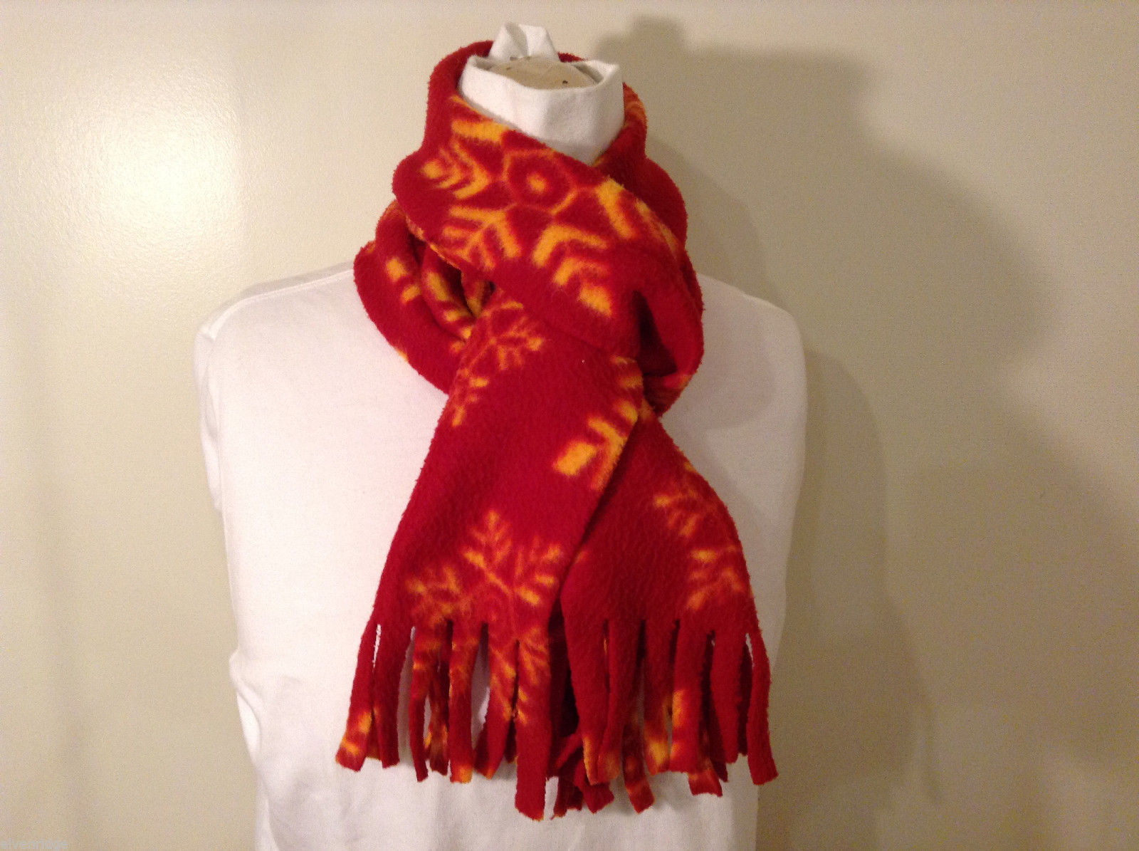 Red and Yellow Snowflakes Winter Fleece Scarf with fringed edges 100% polyester