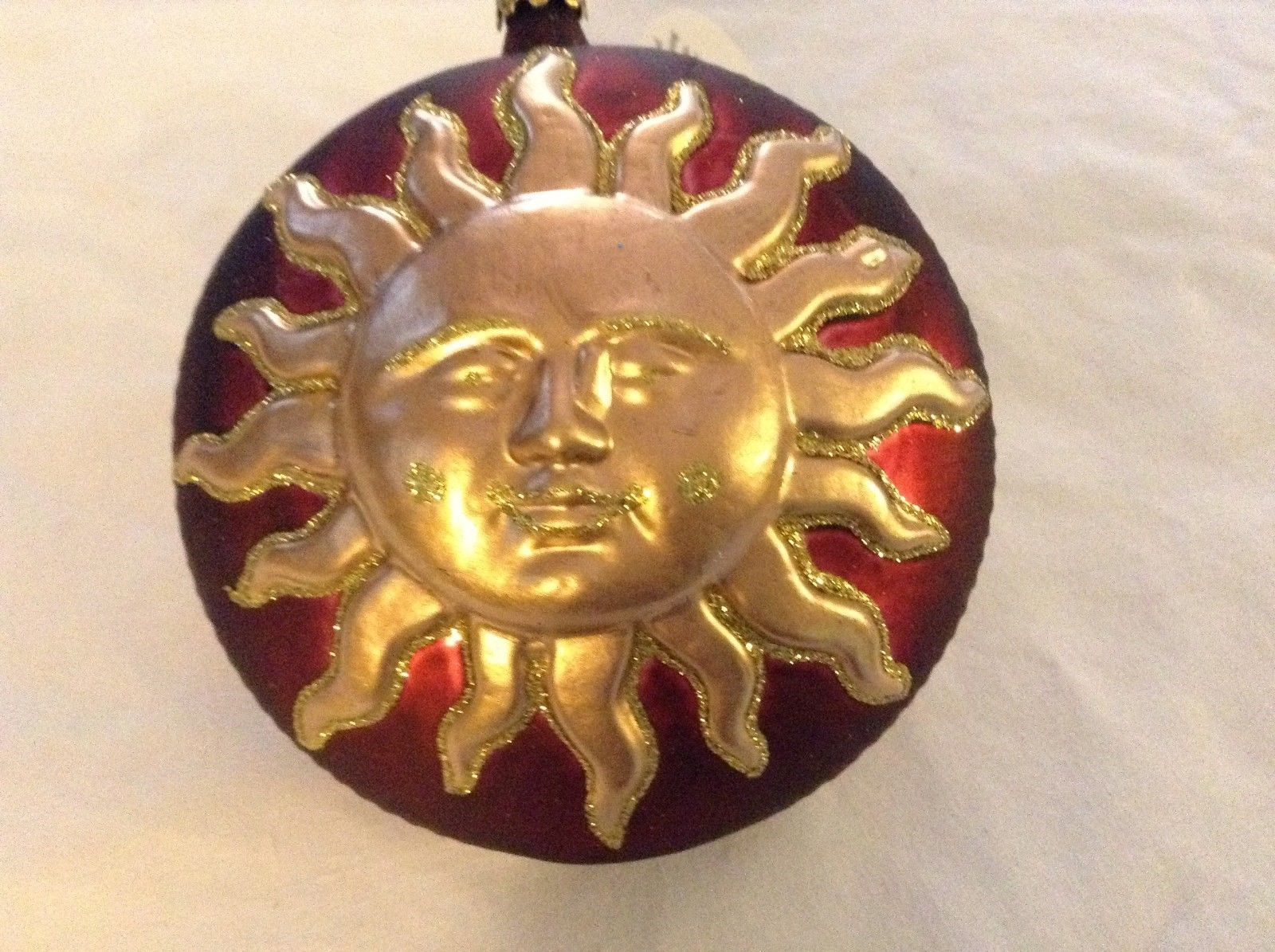 Red and gold glitter Shining Sun  Glass Ornament Old German Christmas