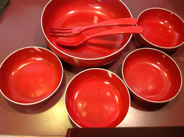 Red enameled wood salad serving set made in Japan vintage