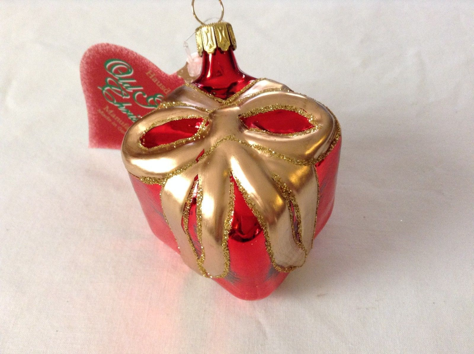 Red present w Gold bow glitter silver red Glass Ornament Old German Christmas