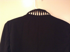 Love Tree Black with Black White Stripes Blazer Jacket Front Pockets Size M image 5