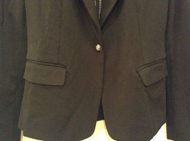 Love Tree Black with Black White Stripes Blazer Jacket Front Pockets Size M image 4