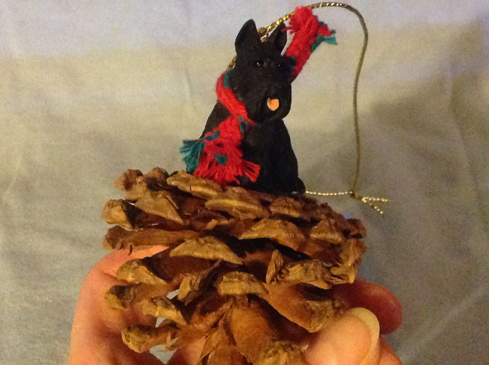 Red Pine Cone Scotty Dog or Black Schnauzer Real Fabric for Scarf on Neck