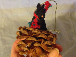 Red Pine Cone Scotty Dog or Black Schnauzer Real Fabric for Scarf on Neck image 1