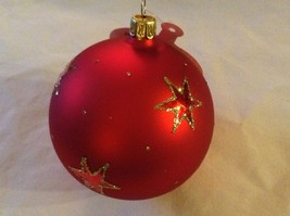Red round Glass Ornament Old German Christmas w stars glitter gloss and matte