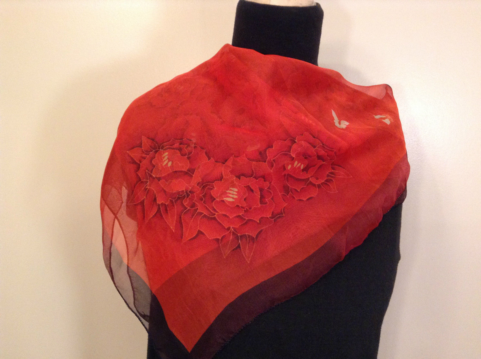 Red with Flowers and Two Butterflies Square Scarf 100 Percent Polyester