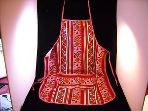 Red vintage Body Apron  with wide front pocket hand made