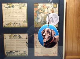 Oval Ceramic Labrador Retriever Dog Ornament w Metal Chain Department 56 image 3
