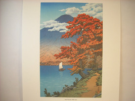 Reproduction Color Woodblock Print 1930 Lake Chuzenji Nikko in Autumn