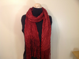 Red with Metallic Thread Pleated Metallic Scarf 100 Percent Polyester