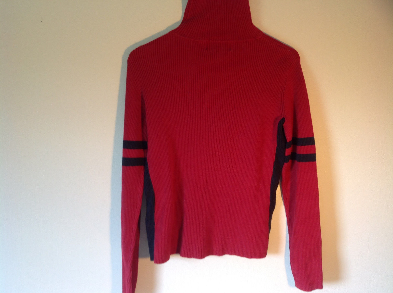Red with Black Stripe on Arm Long Sleeve Turtleneck Sweater Casual Corner Size M
