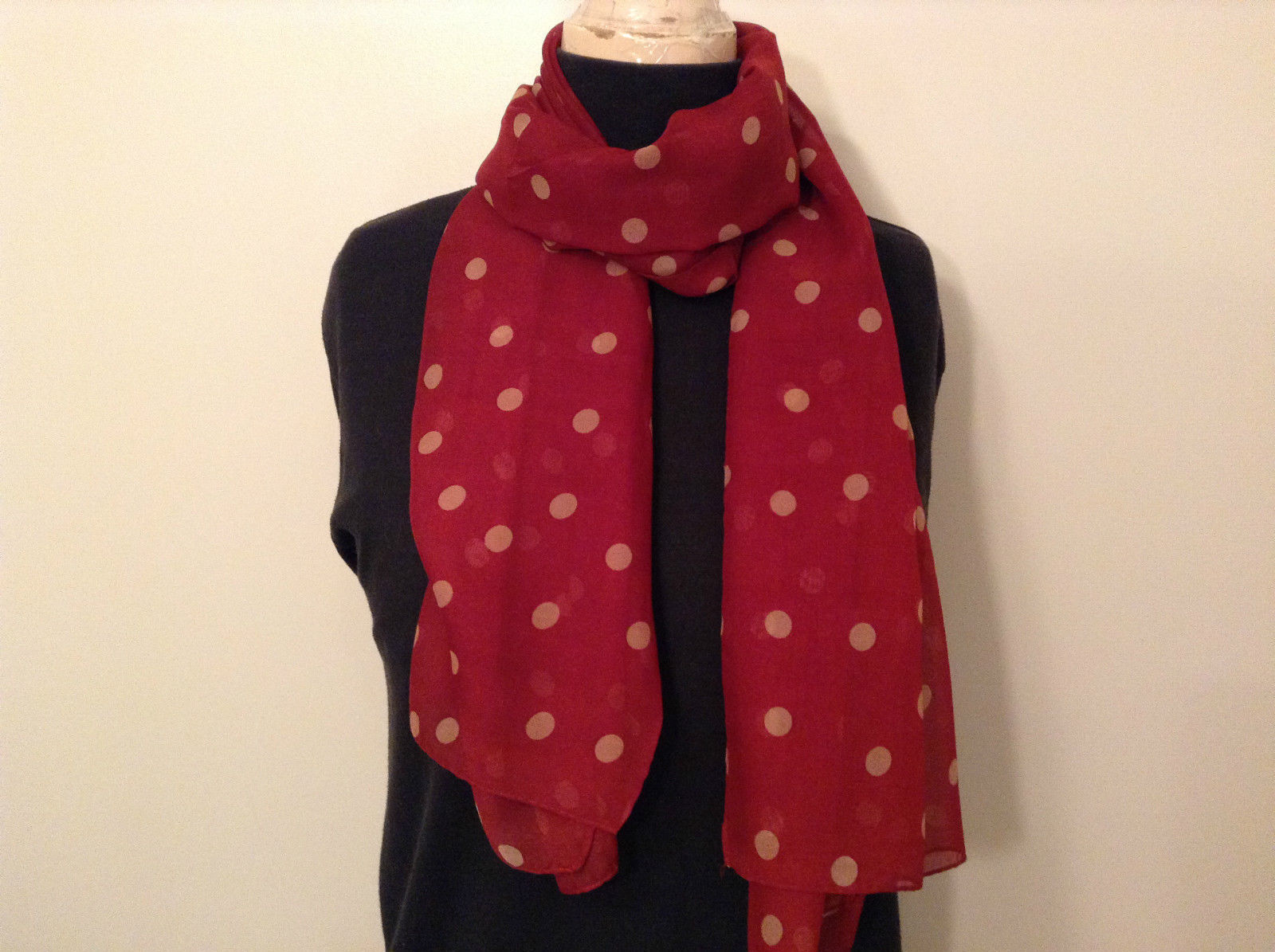 Red with Tan Dots Scarf 100 Percent Polyester NEW