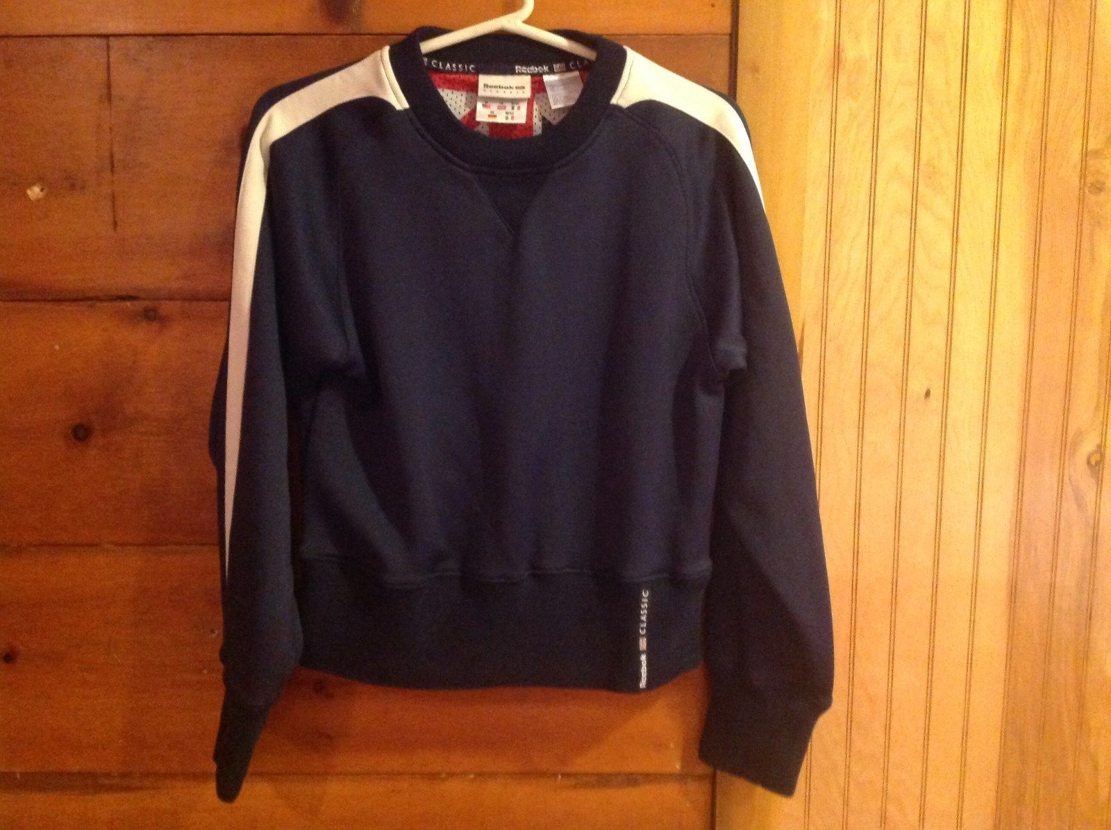 Reebok Classic Sweatshirt Dark Navy Blue with White Stripes Long Sleeves Size M