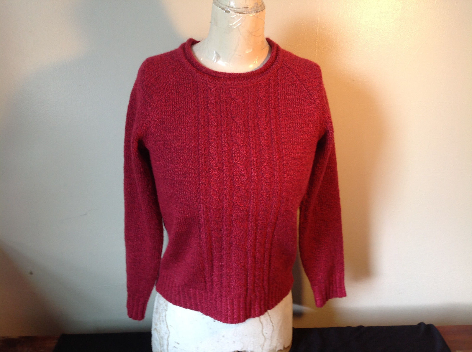 Red with Black Specks Long Sleeve Sweater Good Condition See Measurements Below