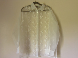 Reflections by Spiegel White See Through Fancy Blouse Long Sleeve Collar Size 10