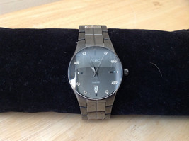 Relic Dark Gray Stainless Steel Round Face Watch Number Areas Have Stones