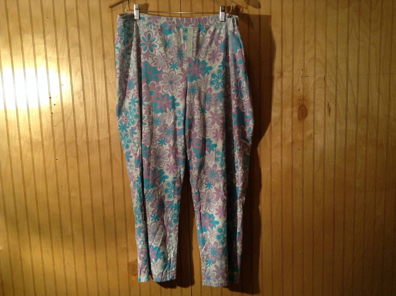 Relativity Intimates Flower Pattern Elastic Waist Casual Cotton Pants Size XL