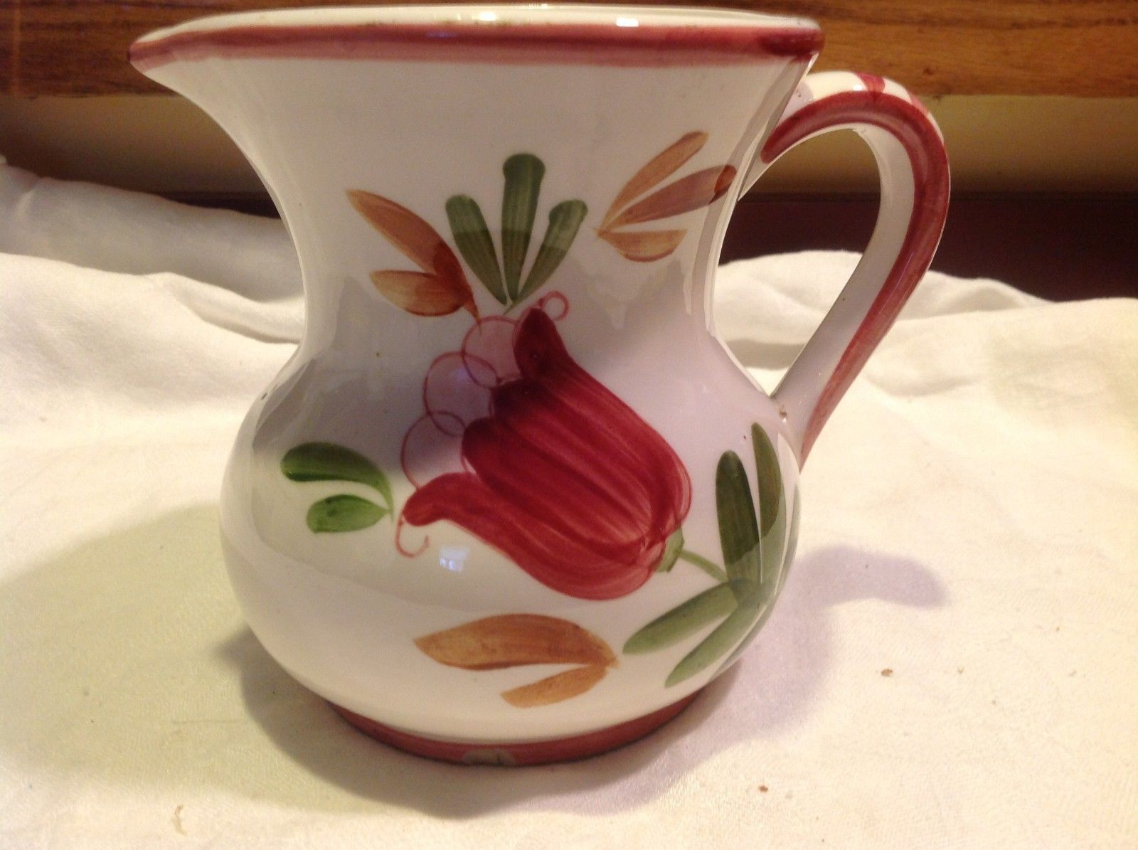 Relpo mid 1900s vintage majolica style floral ceramic pitcher