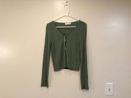 Relais Knitted Soft Green Long Sleeve Sweater Ribbon Tie Closure Size Small