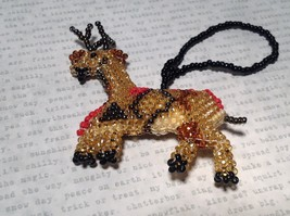 Reindeer Handmade Beaded  Ornament Decoration Gold Tone Metallic Beads image 1