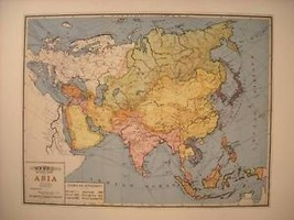 Reprint of vintage School Map of Asia