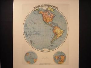 Reprint of vintage Map of Western Hemisphere