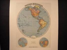 Reprint of vintage Map of Western Hemisphere