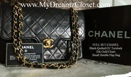 FULL SET CHANEL Black Quilted CC Turnlock 24k Gold Chain Small Double Fl... - $1,950.00