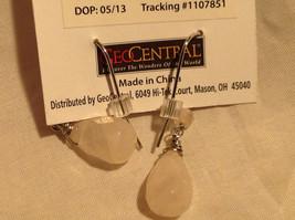Lovely Rose Quartz Crystal Silver Tone Drop Earrings Hook Back GeoJewelry image 2