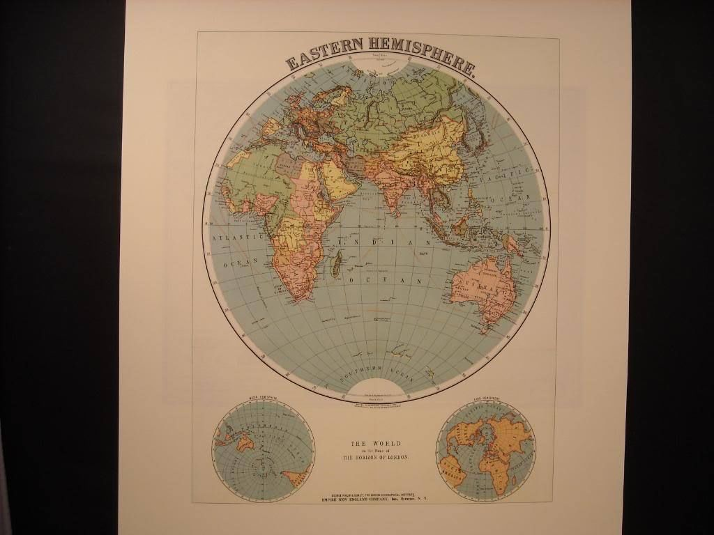 Reprint of vintage Map of Eastern Hemisphere