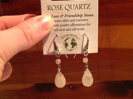 Lovely Rose Quartz Crystal Silver Tone Drop Earrings Hook Back GeoJewelry image 4