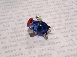 Made in USA Cute Hand Blown Glass Mini Figurine Blue Piglet image 2