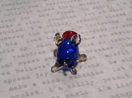 Made in USA Cute Hand Blown Glass Mini Figurine Blue Piglet image 3