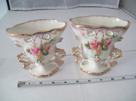 Made in England Miniature Vases in Porcelain with pink and white roses vintage image 2